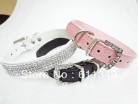 Free Shipping Pet Products Puppy Dog Collars 4-Row Rhinestone PU Leather Crystal Diamond Cat Collars Pink Medium