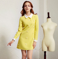 2014 cotton long-sleeve dress 4 colors spring dress new Slim Peter Pan collar dress woman dresses