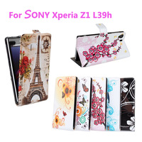 For Xperia Z1 Flower Printed Printing Pattern Stained Case Flip Wallet Stand Cover for SONY Xperia Z1 L39h