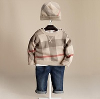 Retail 2014  Baby Free  Clothing Set Autumn Boy`s Long Sleeve sweater+Hat kids winter sweater Free shipping children sweater