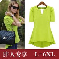 Ultralarge2013 fashion V-neck long design slim waist chiffon shirt paragraph short-sleeve