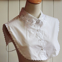 2015 All match white elegant embroidered shirt blouse false collar detachable collar necklace dropshipping