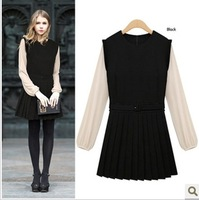 2014 autumn fashion color block chiffon patchwork long-sleeve dress pleated skirt 9851 lacing