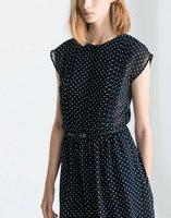 Free Shippig 2014 Summer Dot Print Chiffon Sleeveless One-piece Dress With Belt