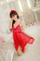 Red/purple/black/white/pink/ Sexy Lingerie Style Ladies Robes Night Gown Nightwear Sexy Underwear mini Dress Free shipping
