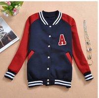 Free shipping New Autunm Women A Letter Varsity Sport Jacket Mandarine Baseball Coat