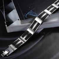 Handmade Men Jewelry Casual 316L Stainless Steel Black Genuine Silicone Bracelet For Men 22mmX13.5mm Wide Cuff Bracelet  823