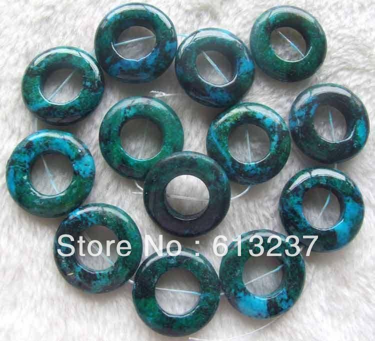 hot free Shipping new 2014 Fashion Style diy 15inch 30mm Green Chrysocolla Circle Beads MY5047(China (Mainland))