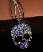 New arrival 2013 fashion crystal necklace female short design chain skull pendant high quality