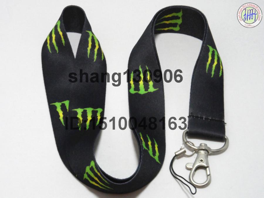 Free Shipping Green Monster logo key lanyard mobile neck strap ID phone strap wholesale(China (Mainland))