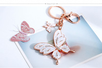 Gift beautiful ! crystal keychain shell butterfly package linked to female car key chain