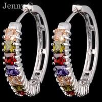 Brand New Jewelry Women's  Multi-colored Crystal Stones Big Hoop Huggie Earrings