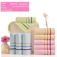 10pcs/lot Family Towel Set 100% Cotton Face Wash Towel stripe solid color Bathroom towel for adults