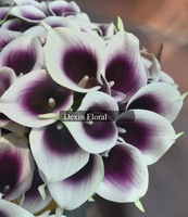 18PCS Real/Natural Touch Stunning Purple Picasso Calla Lily for Wedding Bouquets, Home Decor