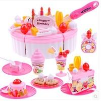 Free ShippingLarge child toy baby 73 sooktops set qieqie see fruit birthday cake