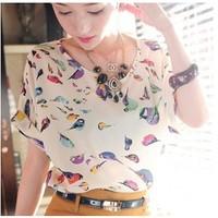 New 2014 Women's Plus Size Loose Chiffon Shirts Bird Printing Pattern Tops Women Blouses T Shirts. Free Shipping