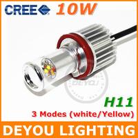Genuine 2014 New 10W Changeable color 3 Mode CREE XBD H11 LED Fog Lamp Light bulb DRL Driving light 12V 24V White/Yellow