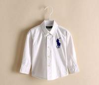 BT4002  Boy's  cotton  white blue dog shirt  children spring autumn top 5pcs/lot