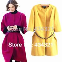 2014 new hot Autumn winter women's big size loose woolen cloth blouse coat jacket brand high quality long wool coat retail top