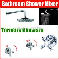 Brass Round Bathroom Shower Faucet Handles Shower Set Cross Bath Mixer Wall Mounted Water Tap Torneira Chuveiro Banheiro Ducha
