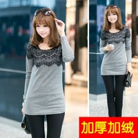 Autumn and winter t-shirt thickening women's lace fleece shirt long-sleeve top long design basic shirt