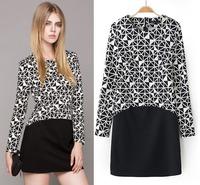 New 2014 fashion women's dress Geometry stitching slim round neck long sleeves brand dress