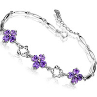 Bracelet 2014,Fashion Clover Design,925 Sterling Silver with 3 Layer Platinum Plated,AAA Austria Crytal OB09