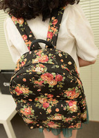 Free shipping Canvas bag student school bag preppy style vintage floral print cloth backpack casual female bags