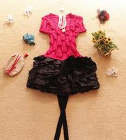 free shipping Winter women's 2014 sweet yarn short-sleeve patchwork puff skirt all-match one-piece dress