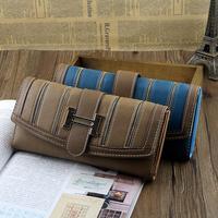 Free Shipping 2014 newest fashion women's Long design faux leather stripe wallets,evening bag,day clutch bag,purse NQB46