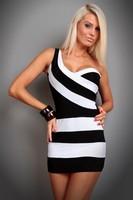 2014 Fashion Sexy Women's Low-cut Party ClubWear Party Mini Casual Dress OL Stripe  Bandage Bodycon Dresses Black And White