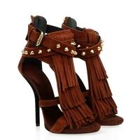 Wholesale Ladies Sexy High Heel Sandals Designer Tassel 12 cm Women Genuine Leather Fashion Dress Shoes 2014 New Popular Pumps