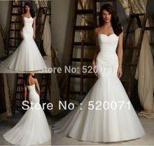 sexy strapless vestidos de novia sirena trompeta 2014 nuevo diseño blanco tul marfil piso longitud de encaje hasta vestidos de novia envío gratis(China (Mainland))