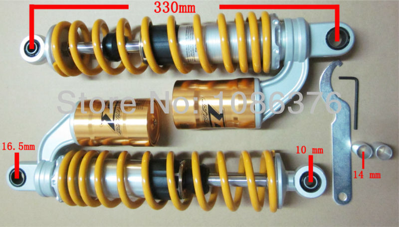 Wholesale 1pair Taiwan DJ1 Adjustable Twin Rear Air Shock Absorbers 330mm for XJR400 fit for 340mm universal Motorcycle(China (Mainland))