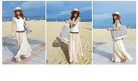 Stylish , Slim , ladies , bohemian , white chiffon dress, pleated skirt