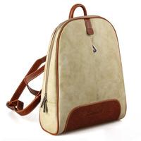 Woman Celebrity Vintage Khaki Real Leather Backpack Satchel Zipper Closures FR39