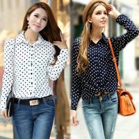 New S-XXL White Navy Women Shirt Polka Dots Chiffon Vintage Blouse Long Sleeve