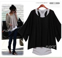 Fashion women's plus size batwing sleeve loose fashion short-sleeve T-shirt twinset vest belt