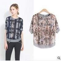 2014 summer women t-shirt o-neck short-sleeve fashion plaid print T-shirt female tops free shipping xc-1214