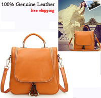 2014 Spring Preppy Style Genuine Leather Women Handbags Vintage Wax Cowhide Cross-Body Shoulder Bags