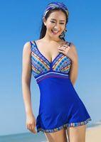 Ethnic women swimwear one piece swimsuit skirt big sizes