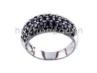 14 kt white gold plated lady zircon ring, BLACK  zircon wedding birthday gift.size 8