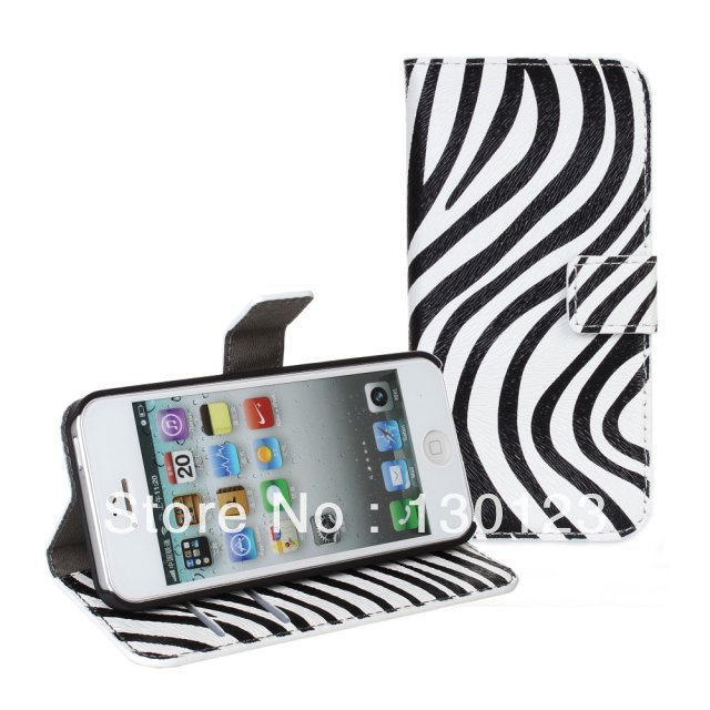 Zebra Stripes Pattern PU Leather Case Flip Cover Wallet for Iphone 5 Iphone5 Cell Phone with Stand Holder and Card Slots(China (Mainland))