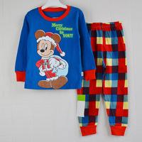 100% cotton retail Sizes: 2T - 3T - 4T - 5T - 6T - 7T for option pyjamas boys family set clothes 2013 kids hello kitty