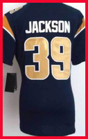 Free Shipping Womens St Louis American Football #39 Jackson Blue Jerseys Embroidery Logo Size S-2XL From China