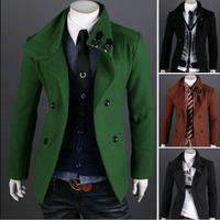 Mens Trench Coat Slim Winter Warm Jackets Double Breasted Overcoat, Men's Warm Outerwear Man Woolen Jacket Winter Coats