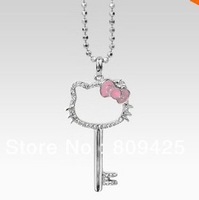 Free Shipping new arrival beads chain wholesale hello kitty necklace cheap the metal key cute pink bow hello kitty in pink bow