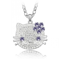 Free Shipping trendy hello kitty wholesale big size face hello kitty necklace cheap in purple flower J00135