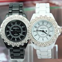 Free Shipping,Hot Sales CZ Rhinestone Decorations, Janpan Movements Women Top Quality Geneva Dress Wrist Watches Women Style