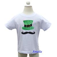 Boys St Patricks Day Bling Green Hat Mustache White Short Sleeves Tee 1-7Y